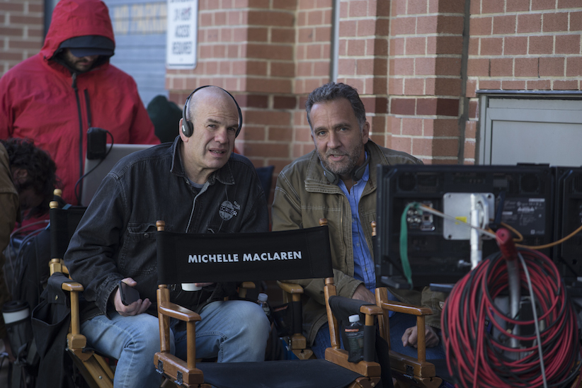 David Simon (left) and George Pelecanos (right), on the set of the pilot of HBO's 'The Deuce'.