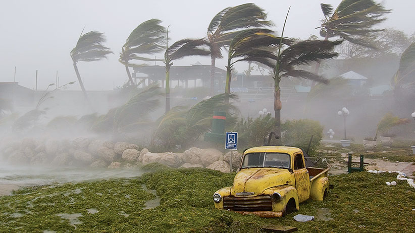 Extreme winds and seaweed-filled storm surge during Hurricane Dennis. Key West, Florida. (Mike Theiss/National Geographic/Getty Images)