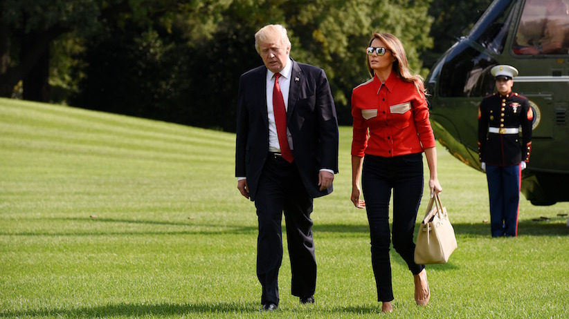 WASHINGTON, DC - SEPTEMBER 10: US President Donald Trump and First Lady Melania Trump walk from Marine One upon arrival on the South Lawn of the White House September 10, 2017 in Washington, DC Trump spent the weekend at Camp David, the Presidential retreat in Maryland. (Photo by Olivier Douliery-Pool/Getty Images)