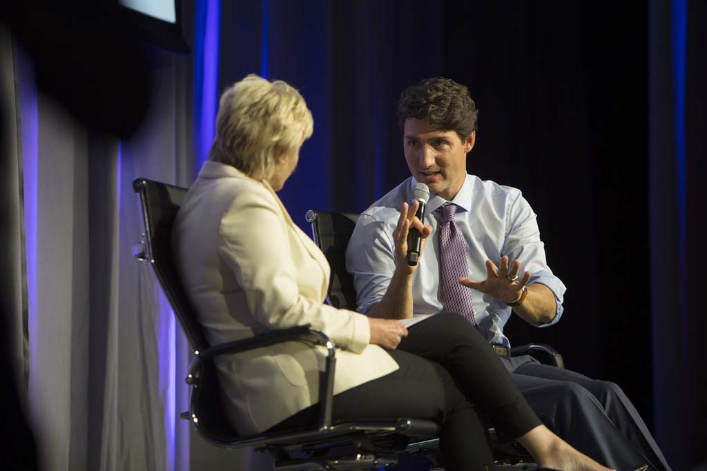 Prime Minister Justin Trudeau in conversation with Tina Brown, Founder and CEO, Tina Brown Live Media/Women in the World, during the Women in the World Canada Summit in Toronto. (Photograph by Della Rollins)
