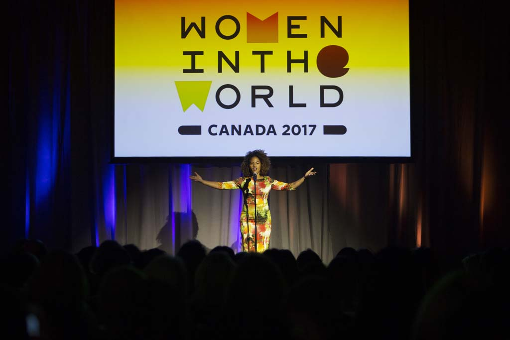 Britta B, Poet and Arts Educator, performs at the Women in the World Canadian Summit in Toronto. (Photograph by Della Rollins)