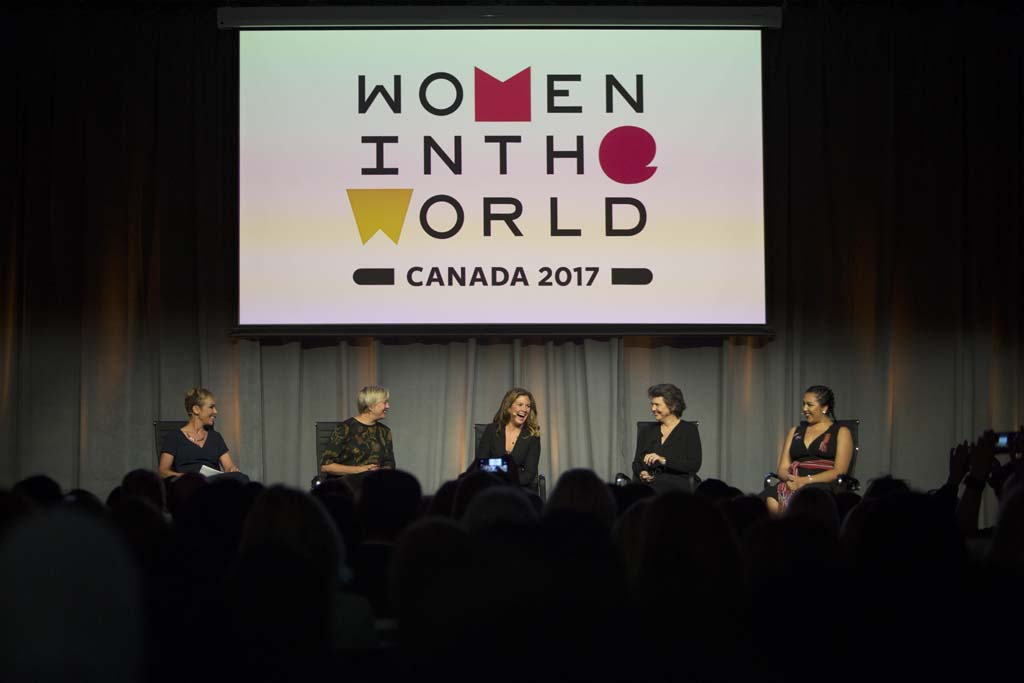 (left to right) Wendy Mesley, Anchor, The National and The Passionate Eye, Carolyn Tastad, Group President, P&G North America, Sophie Grégoire Trudeau, Gender Equality Advocate, Madonna Badger, Chief Creative Officer and Founder, Badger & Winters and Roseanne Supernault, Actress, Activist and Founder of Next Gen Productions, speak about women's portrayal in advertising during the Women in the World Canadian Summit in Toronto. (Photograph by Della Rollins)
