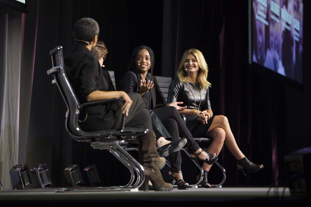 (left to right) Zainab Salbi, Kara Swishe, Tamika D. Mallory and Co-Chair, Women's March and Lisa Bloom during a panel discussion at the Women in the World Canadian Summit in Toronto. Mallory was a co-chair of the Women's March. (Photograph by Della Rollins)