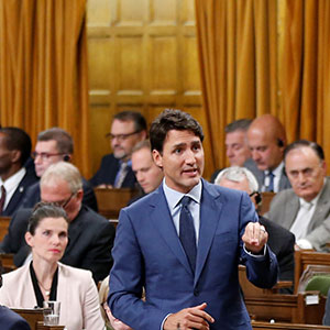 Canada's Prime Minister Justin Trudeau speaks during Question Period in the House of Commons on Parliament Hill in Ottawa, Ontario, Canada, September 18, 2017. (Chris Wattie/Reuters)