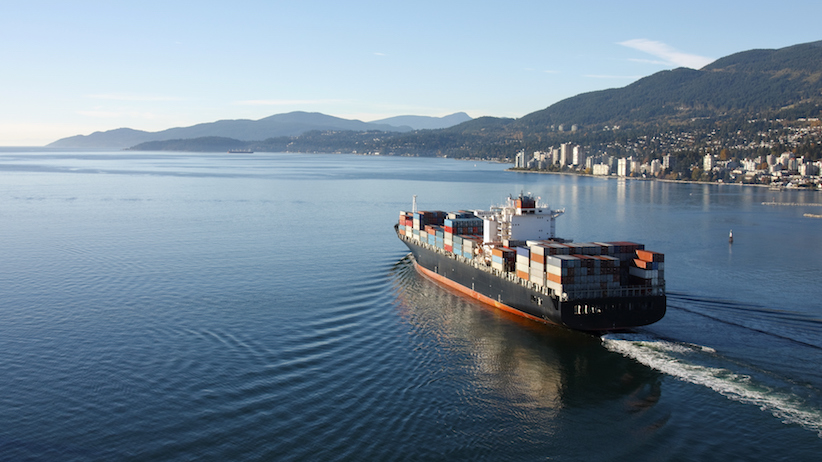 Container ship leaving port in Vancouver (Photo credit: iStock)