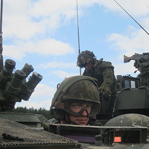 The battlegroup during exercises at the Adazi Training Area outside Riga. (Chris Scott)