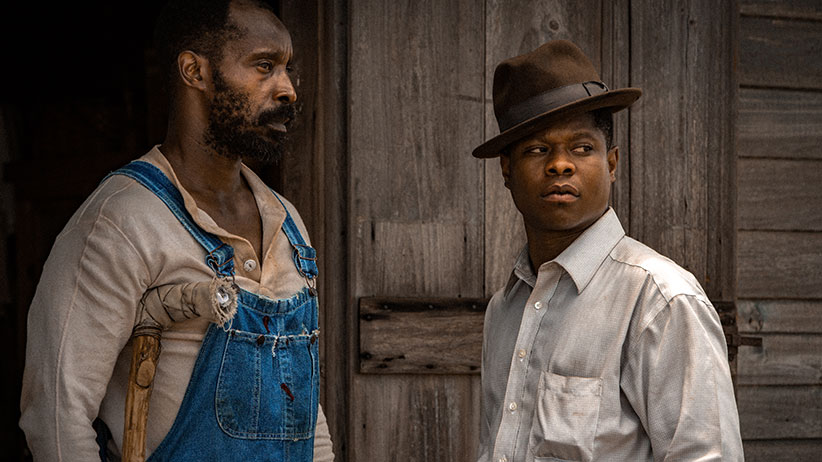 Hap Jackson, played by Rob Morgan, is pictured with Ronsel Jackson, played by Jason Mitchell, in Netflix's Mudbound.