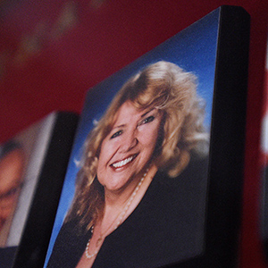 A picture of Senator Lynn Beyak accompanies other Senators official portraits on a display outside the Senate on Parliament Hill in Ottawa on Thursday, Sept. 21, 2017. THE CANADIAN PRESS/Sean Kilpatrick