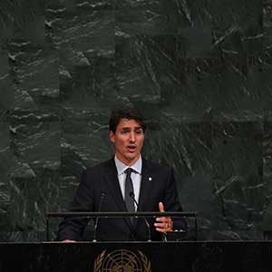 Justin Trudeau, Prime Minister of Canada speaks during the 72nd session of the General Assembly at the United Nations in New York on September 21,2017. / AFP PHOTO / TIMOTHY A. CLARY        (Photo credit should read TIMOTHY A. CLARY/AFP/Getty Images)