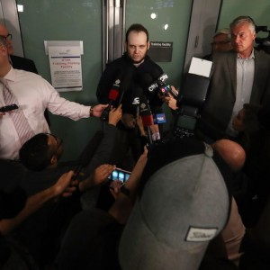MISSISSAUGA, ON- OCTOBER 13  -  Joshua Boyle speaks to media. He and his wife Caitlain Coleman and their two sons, 4 and 2, and newborn daughter returned to Canada after being held hostage for five years at Pearson International Airport in Mississauga. October 13, 2017.        (Steve Russell/Toronto Star via Getty Images)