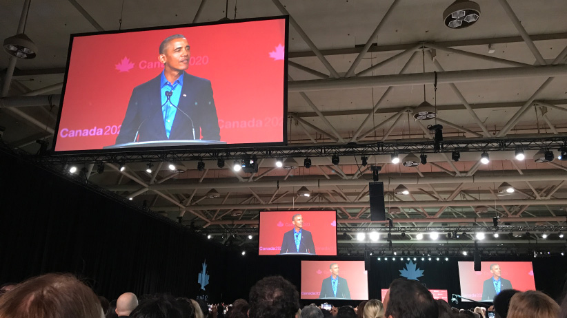 President Barack Obama at the Canada2020 event. (Lisa Zarzeczny)