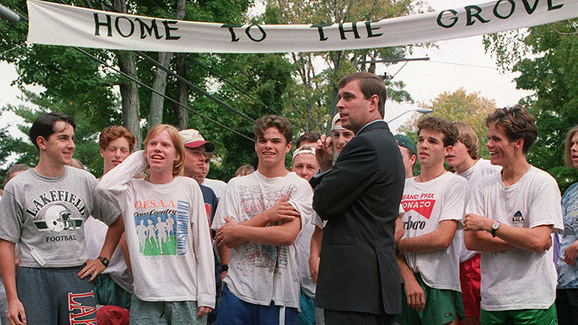 Prince Andrew Duke of York, chats with students from Lakefield College in Lakefield Sept. 26, 1992. The Prince was on hand to start a cross-country race as part of the college's homecoming and kick-off a fundraiser to build a new resource center. (Hans Deryk/CP)
