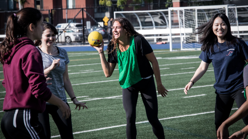 """Masse is photographed during a drill of her """"Practicum"""" class at the U of T football stadium. (Photo, Giovanni Capriotti)"""