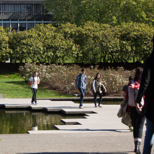 Students walk around on campus at Simon Fraser University in Burnaby. (Photograph by Della Rollins)