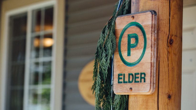 First Nations university education - Elder parking sign at Thopson Rivers University. (Photo by Kathleen Fisher)