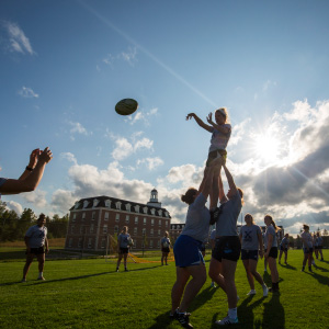 The St. Francis Xavier women's rugby team practices on Wednesday, Sept. 6, 2017. (Photograph by Mikaela MacKenzie)