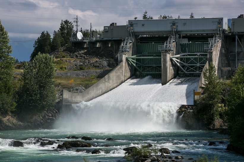 The rushing waters along the Cheakamus River produce cheap and plentiful hydro-electric power as viewed on June 30, 2016 near Squamish, British Columbia. (George Rose/Getty Images)