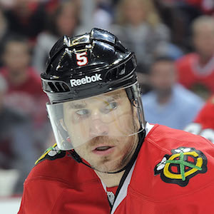 CHICAGO, IL- DECEMBER 30:  Steve Montador #5 of the Chicago Blackhawks watches for the puck during the NHL game against the Detroit Red Wings on December 30, 2011 at the United Center in Chicago, Illinois. (Photo by Bill Smith/NHLI via Getty Images)
