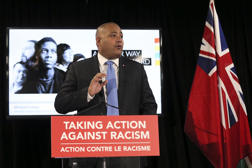 Michel Coteau, Ontario's Minister Responsible for anti-Racism, announces the province's new anti-racism strategy at 1 Leaside Park Drive in Toronto, March 7, 2017. (Andrew Francis Wallace/Toronto Star via Getty Images)