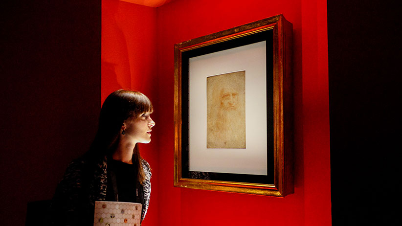 On occasion of the Holy Shroud Exposition, in the Senate Hall, Palazzo Madama, from April 24 to June 2, 2015 has exposed the self-portrait of Leonardo Da Vinci. The drawing shows a thoughtful and senior face of Leonardo. (Elena Aquila/Pacific Press/LightRocket/Getty Images)