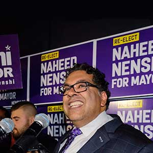 Naheed Nenshi celebrates his victory as Calgary's mayor following municipal elections in Calgary, Alta., early Tuesday, Oct. 17, 2017. THE CANADIAN PRESS/Jeff McIntosh