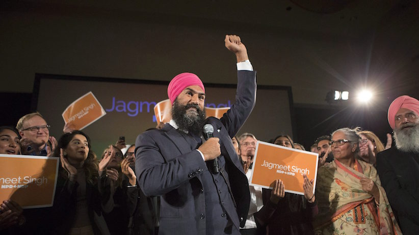 Jagmeet Singh celebrates with supporters after winning the first ballot in the NDP leadership race to be elected the leader of the federal New Democrats in Toronto on Sunday, October 1, 2017. THE CANADIAN PRESS/Chris Young