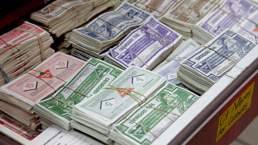 Canadian Tire Corp. money sits bundled together in stacks at a store in Toronto, Ontario, Canada. (Reynard Li/Bloomberg/Getty Images)