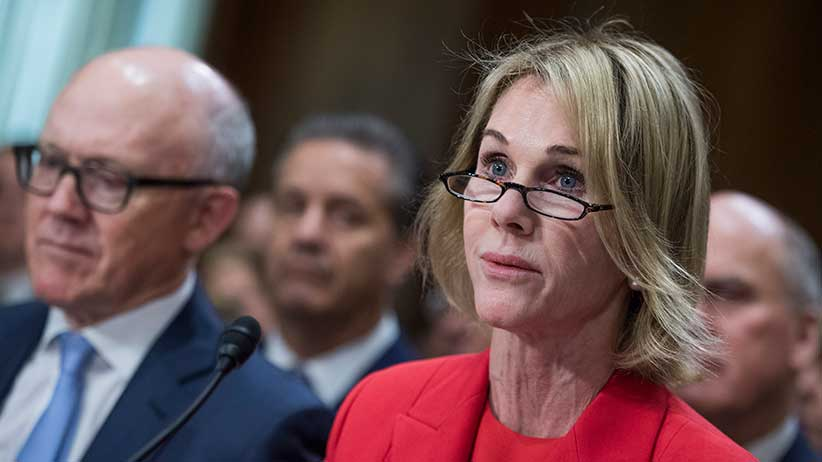 UNITED STATES: Kelly Knight Craft, ambassador to Canada, at her Senate Foreign Relations Committee confirmation hearing on July 20, 2017. Robert Wood Johnson IV, nominee to be ambassador to the United Kingdom, appears at left. (Photo By Tom Williams/CQ Roll Call)