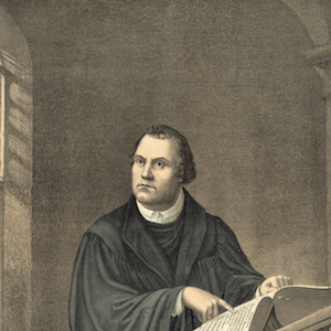 Antique print of Martin Luther in his study at Wartburg Castle in Eisenach (lithograph), 1882. (Photo by GraphicaArtis/Getty Images)