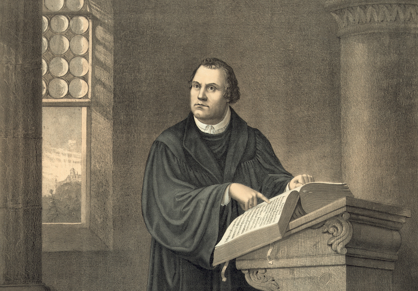 An antique print of Martin Luther in his study at Wartburg Castle in Eisenach (lithograph), 1882. (GraphicaArtis/Getty Images)