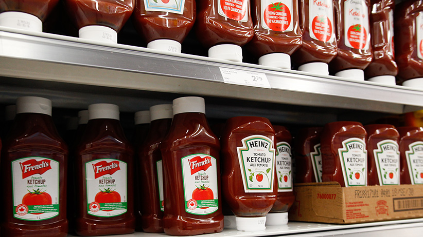 French's ketchup sits next to Heinz ketchup on a grocery store shelf in Leamington, Ontario, Canada on September 15, 2017. (Photograph by Dennis Pajot)