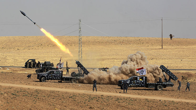 A picture taken on October 26, 2017 shows rockets being launched from Iraqi security forces' against Kurdish Peshmerga positions in the area of Faysh Khabur, which is located on the Turkish and Syrian borders in the Iraqi Kurdish autonomous region. (AHMAD AL-RUBAYE/AFP/Getty Images)