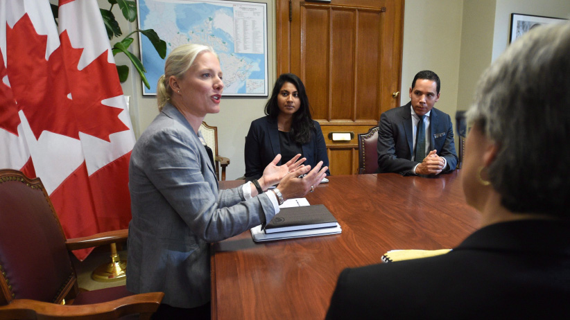 Minister of Environment and Climate Change, Catherine McKenna, holds a meeting in her office with members of the NAFTA Advisory Council on the Environment on Parliament Hill in Ottawa on Friday, Sept. 22, 2017. (Sean Kilpatrick/CP)