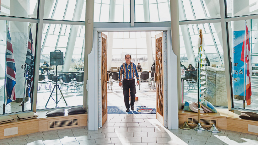 Blair Stonechild at the First Nations University Campus in Regina. (Photograph by Carey Shaw)