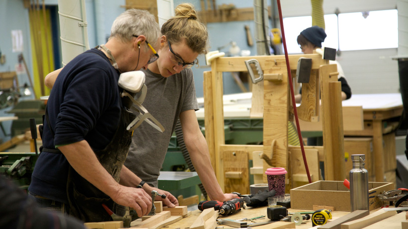 Selkirk College student, Sam and his teacher Dave work in the wood working shop. (Justin Davis)