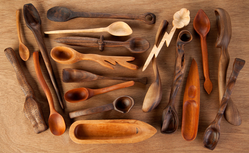 Spoons made by Selkirk College Fine Woodworking Program students. (Justin Davis)