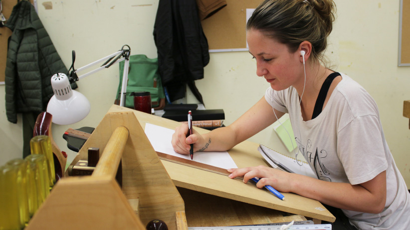 Selkirk College Fine Woodworking Program student, name TK. (Bob Hall/Selkirk College)
