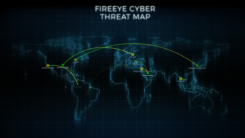 Screenshot of live cyber attack tracking throughout the world. (FireEye)
