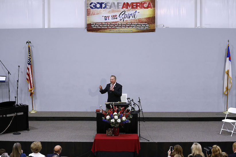 Republican candidate for U.S. Senate Judge Roy Moore speaks during a campaign event at the Walker Springs Road Baptist Church on Nov. 14, 2017 in Jackson, Alabama. (Jonathan Bachman/Getty Images)