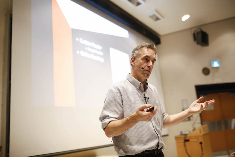 Jordan Peterson during his lecture at University of Toronto. (Rene Johnston/Toronto Star via Getty Images)