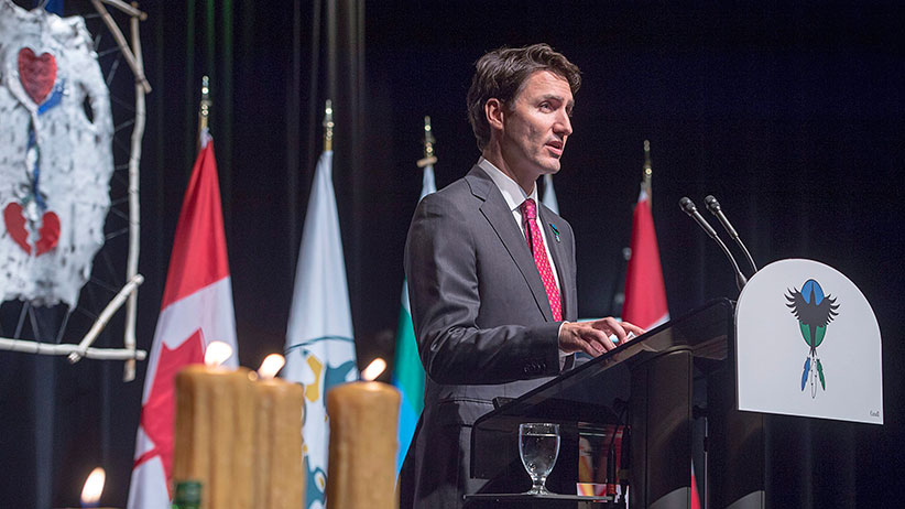 Prime Minister Justin Trudeau delivers an apology on behalf of the Government of Canada to former students of the Newfoundland and Labrador Residential Schools in Happy Valley-Goose Bay, N.L. on Friday, Nov. 24, 2017. (Andrew Vaughan/CP)