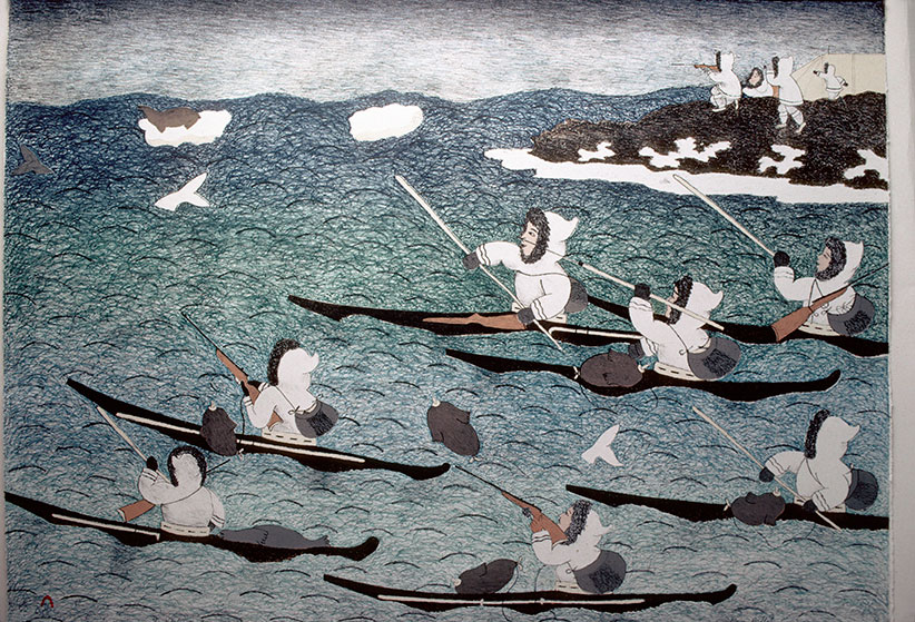 """Canada, NWT, Cape Dorset, print co-op, artist Mary Pudlap, lithograph """"The whale hunt"""". (Wolfgang Kaehler/LightRocket/Getty Images)"""