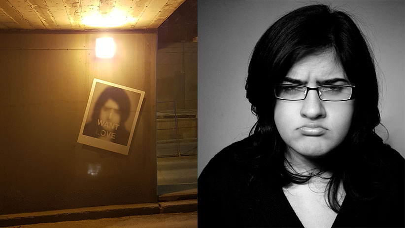 Left: The offending shot of Bisha Ali in a Calgary underpass. Right: the original shot of Ali by Jayde Adams.