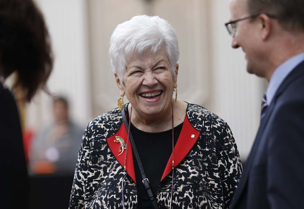 <p>Monique Bégin shares a laugh with Maclean's Editor-in-Chief, Alison Uncles, and Ottawa Bureau Chief, John Geddes, during the Parliamentarian of the Year awards banquet at the Fairmont Chateau Laurier. Photograph by Blair Gable</p>