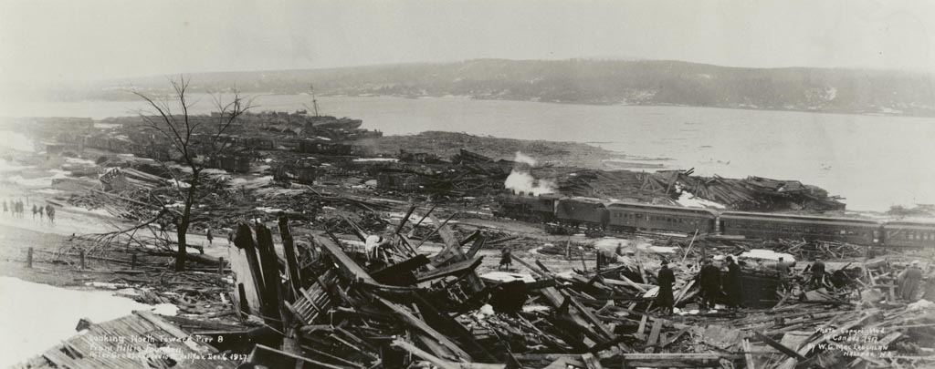 <p>Looking north toward Pier 8 from Hillis foundry after great explosion, Halifax, Dec. 6, 1917. (W.G. MacLaughlan Nova Scotia Archives accession no. 1988-34 no. 14)</p>