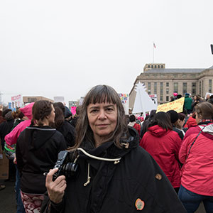 Photographer Donna Ferrato documents the Women's March on Washington for Maclean's Magazine (Photograph by David Zelikovitz)