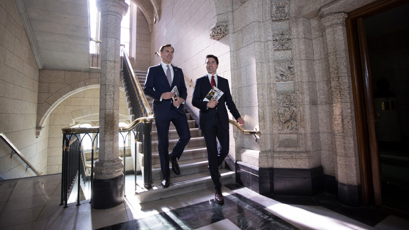Federal Finance Minister Bill Morneau with Prime Minister Justin Trudeau
