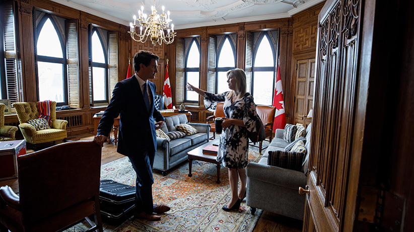 Kate Purchase with Justin Trudeau in the Prime Minister's Office