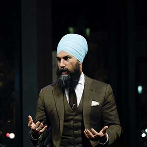 NDP leader Jagmeet Singh talks to Paul Wells at the Maclean's Live event at Ottawa's National Arts Centre on February 8, 2018