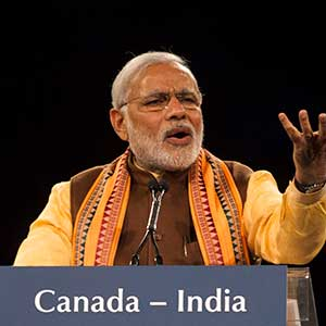 Indian Prime Minister Narendra Modi addresses the crowd at an event in Toronto during his 2015 visit to Canada
